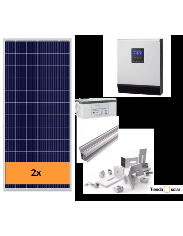 KIT SOLAR AUTOCONSUMO AISLADO 1200 W y baterías, con producción 1000 Whdía
