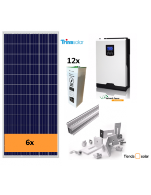 OFF-GRID SELF-CONSUMPTION SOLAR KIT 3000 W and batteries, with production 3500 Whd
