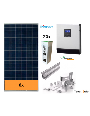 OFF-GRID SELF-CONSUMPTION SOLAR KIT 5000 W and batteries, with production 5000 Whday
