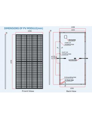 dimensiones panel solar trina 490W mono perc