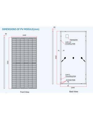 Dimensions Trina Solar 450W Tallmax