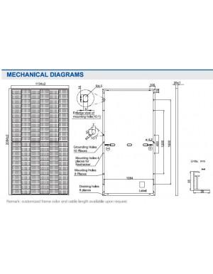 dimensions JA 495W mono perc